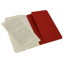 Moleskine set of 3 ruled journals - cranberry red -soft cover - Pocket 90 x 140mm
