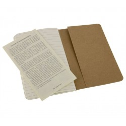 Moleskine set of 3 ruled journals - kraft brown -soft cover - Pocket 90 x 140mm