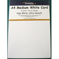 Tindalls A4 Medium White Card 225gsm