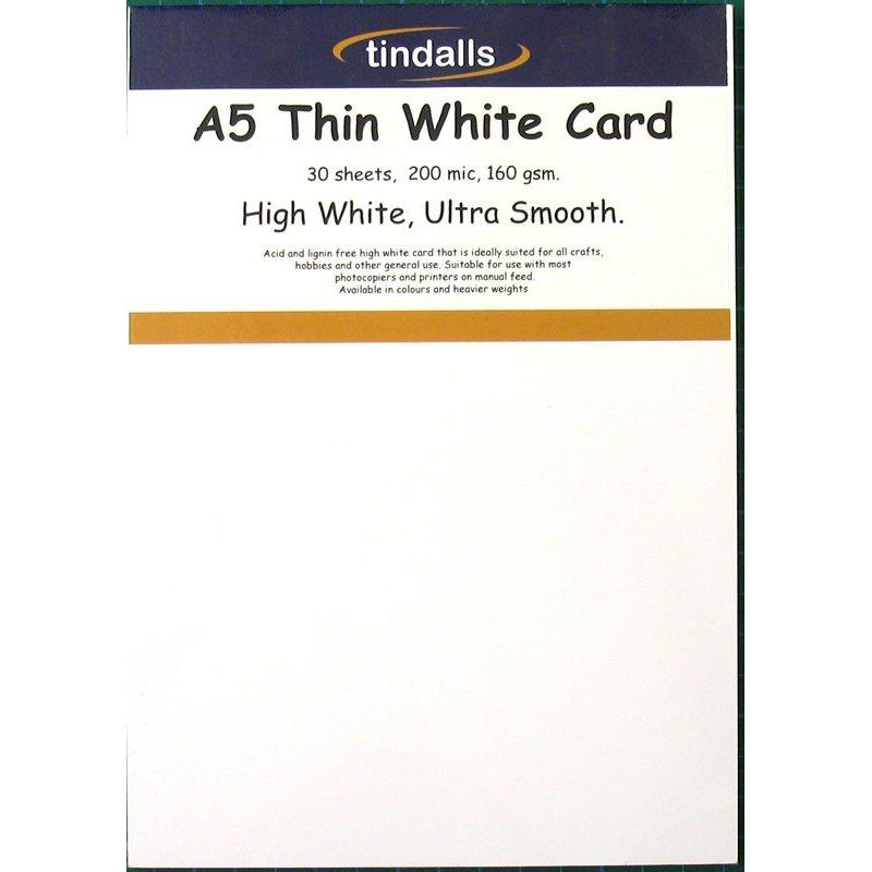 Tindalls A5 Thin White Card 160gsm