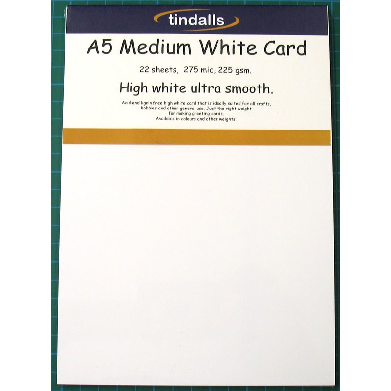 Tindalls A5 Medium White Card 225gsm