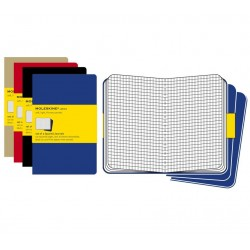 Moleskine set of 3 squared journals - black -soft cover - X Large 190 x 250mm