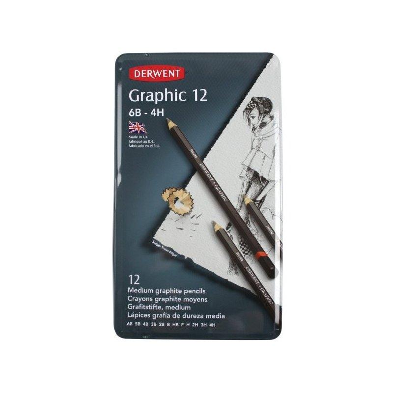 Derwent Graphic Medium Pencils 12 Tin