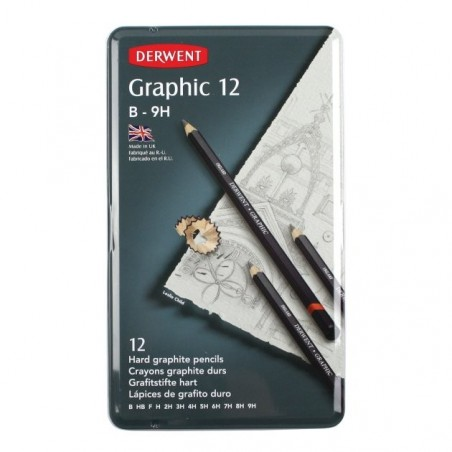 Derwent Graphic Hard Pencils 12 Tin