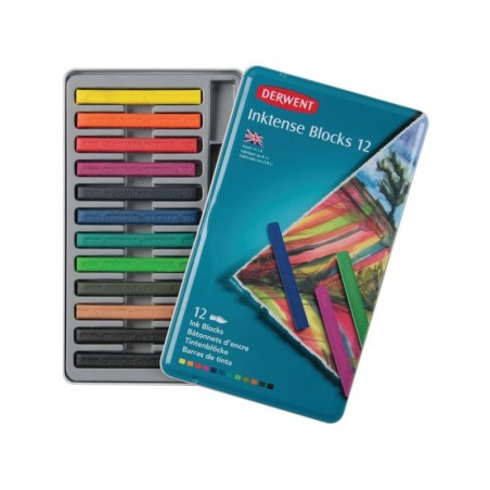 Derwent Inktense Watersoluble Blocks Tin of 12