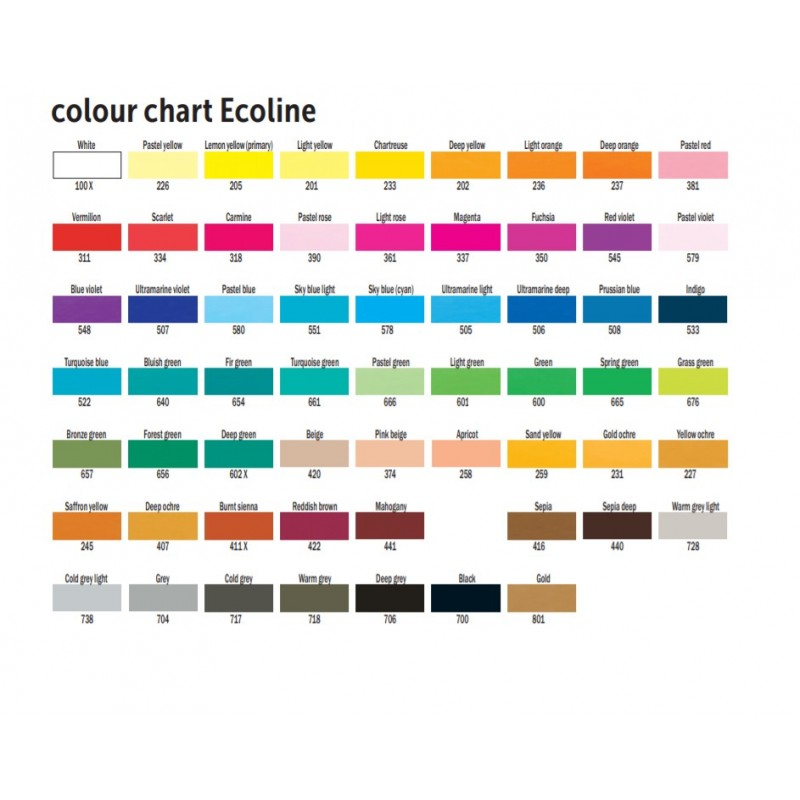 Ecoline liquid watercolour 30ml colour chart