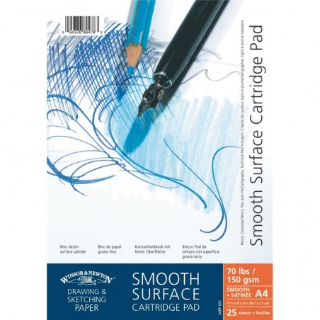 Winsor and Newton Smooth Surface Cartridge Paper Drawing Pad Spiral 150gsm