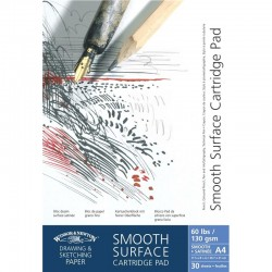 Winsor and Newton Smooth surface Cartridge Paper Drawing Pad Gummed 130gsm A5, A4, A3, A2