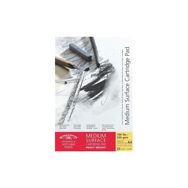 Winsor and Newton Medium surface Cartridge Heavyweight Paper Drawing Pad Gummed 220gsm