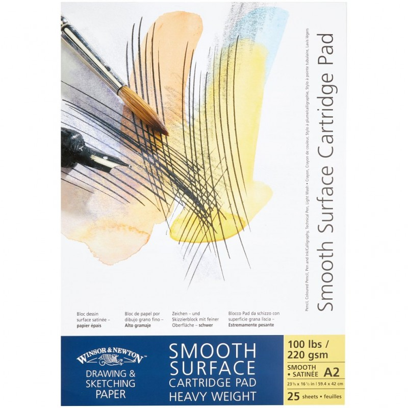 Winsor and Newton Smooth surface Cartridge Heavyweight Paper Drawing Pad Gummed 220gsm