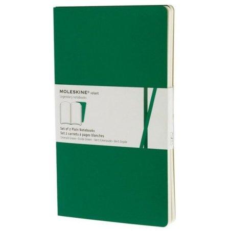 Moleskine Plain Volant Notebook Set - green - soft cover - Large 130 x 210mm