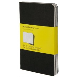 Moleskine set of 3 squared journals - black -soft cover - Pocket 90 x 140mm