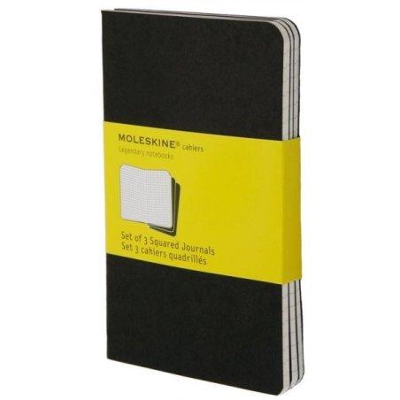 Moleskine set of 3 squared journals - black -soft cover - Pocket 90 x 140mm