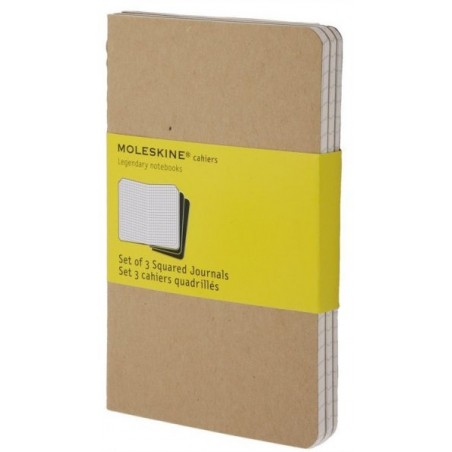 Moleskine set of 3 squared journals - kraft brown -soft cover - Pocket 90 x 140mm