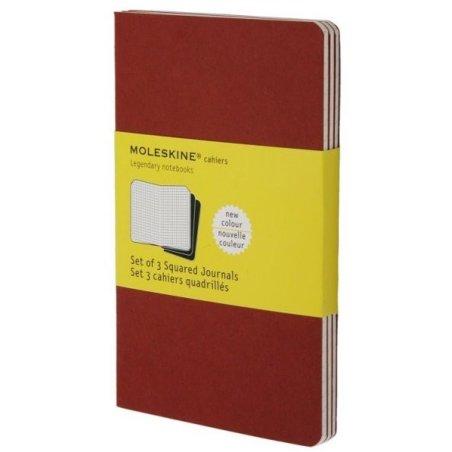 Moleskine set of 3 squared journals - cranberry red -soft cover - Pocket 90 x 140mm