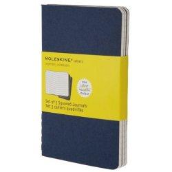 Moleskine set of 3 plain journals - indigo blue -soft cover - Pocket 90 x 140mm