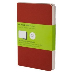 Moleskine set of 3 plain journals - cranberry red -soft cover - Pocket 90 x 140mm
