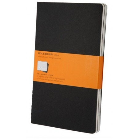 Moleskine set of 3 ruled journals - black -soft cover - Large 130 x 210mm