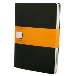 Moleskine set of 3 ruled journals - black -soft cover - X Large 190 x 250mm