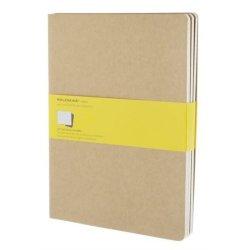 Moleskine set of 3 squared journals - kraft brown -soft cover - X Large 190 x 250mm