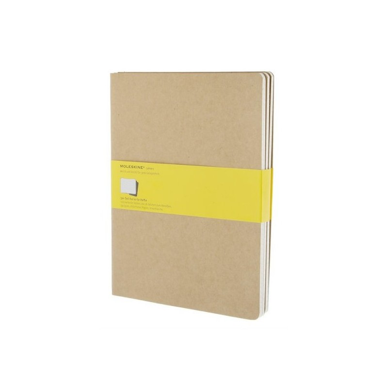 Moleskine set of 3 squared journals - kraft brown -soft cover - X Large 190 x 250mm