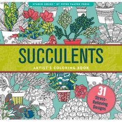 Succulents Artists Adult Coloring Book