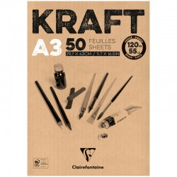 Clairefontaine Kraft Paper Pad, 120 g, A3 - Brown, 50 Sheets