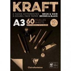 Brown & Black laid Kraft 90g A3 60sh pad