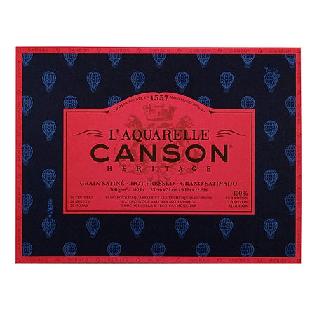 """Canson Heritage Hot Pressed Watercolour Pad 300gsm 16"""" x 12"""""""
