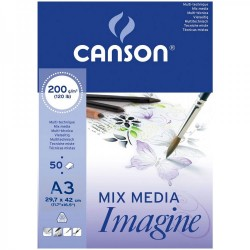 Canson Imagine Mixed Media 200gsm Paper Natural White Pad A3