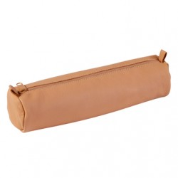 Clairefontaine 5.5 x 21 cm Leather Round Pencil Case, Beige