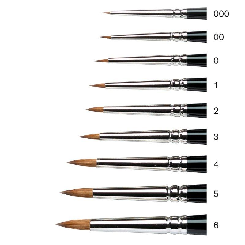 Winsor & Newton Series 7 Kolinsky Miniature Short Handle Sable Brushes - size chart