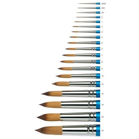 Cotman Series 111 Short Handle Round Brushes - size chart