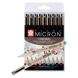 Sakura Pigma Micron Fineliners - Set of 9 Colours